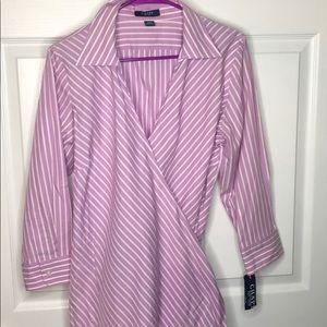 Chaps Ralph Lauren lavender striped shirt NWT